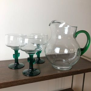 Green Margarita Set Pitcher Libbey Cactus Glasses